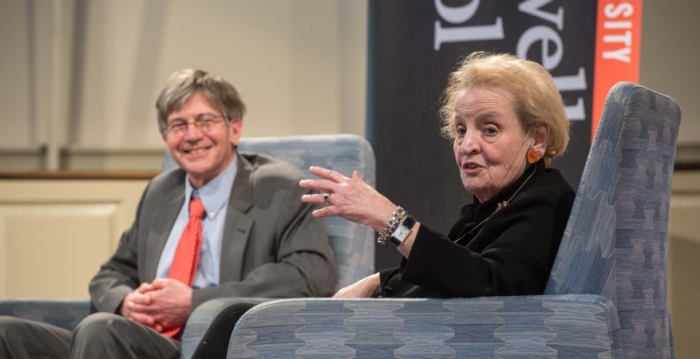 Former Secretary of State Madeleine Albright Speaks About Experiences Amidst Protest
